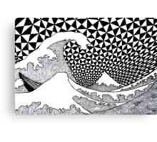 142 - VARIATION ON HOKUSAI'S WAVES (INK - 1987) Canvas Print