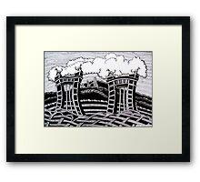 235 - ACTON HALL GATES, WREXHAM - DAVE EDWARDS - INK - 2011 Framed Print