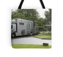 The BBC outside broadcast vehicle. Tote Bag