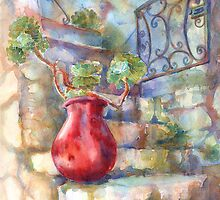 David's Europe 1 - Red French Pot by Yevgenia Watts