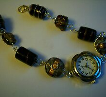 handmade beaded bracelet watch using wire wrapped beads by anaisnais