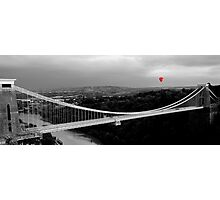 Red Balloon Over Clifton Suspension Bridge Photographic Print