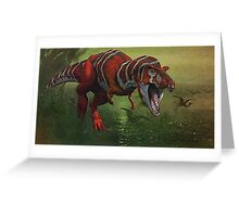 T Rex in Swamp Greeting Card