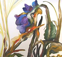 Bearded Iris, Big Sur Woods by Barbara Sparhawk