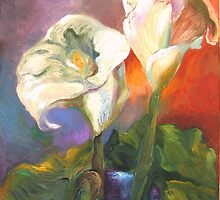 Calla Lilies and Leaf by Barbara Sparhawk