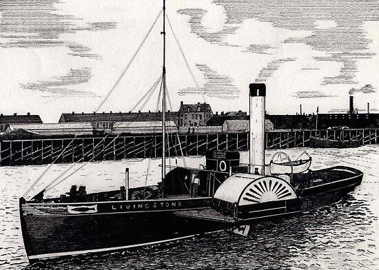 184 - TUGBOAT 'LIVINGSTONE' c. 1910 - DAVE EDWARDS - INK - 1991 by BLYTHART