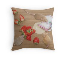 Strawberries and Cream Delight Throw Pillow