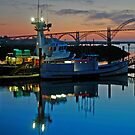 Sundown At Yaquina Bay by Nick Boren