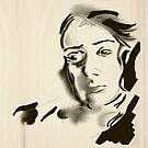 Digital Artistic Ink Woman Black & White by fchagora