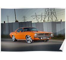 Orange 1970 Plymouth Barracuda Poster
