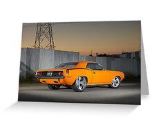 Orange 1970 Plymouth Barracuda Greeting Card