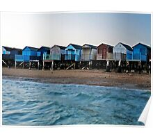 Beach Huts on the shoreline. Southend, Essex, UK  Poster