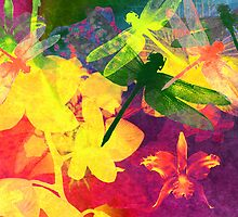 Dragonflies & Orchids. Modern Art. by Vitta