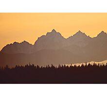 southern olympic mtn sunset, washington, usa Photographic Print