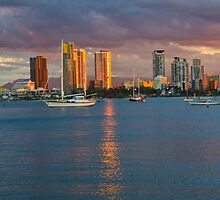 Sunset at the Spit Surfers Paradise by Steve Bass