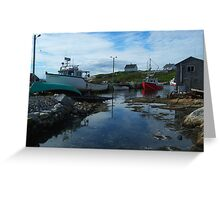 The Red Boat In The Back Greeting Card
