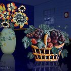 Blue Room With Basket of Fruit by Penny Alexander