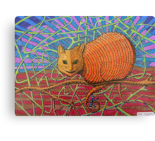 339 - CHESHIRE CAT - DAVE EDWARDS - COLOURED PENCILS - 2011 Canvas Print