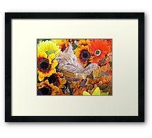 Di Milo ~ Cute Kitty Cat Kitten in Decorative Fall Flowers Framed Print