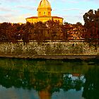 Church Reflected in River (Rome, Italy) by Lori  Heiss