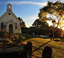 Sunrise at St Matthews Church. Brisbane, Queensland, Australia. by Ralph de Zilva