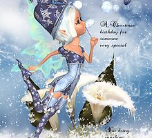 Christmas Birthday With Fairy Blowing Bubbles by Moonlake