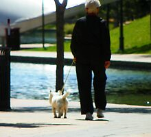 Woman Walking the Dog by Lenore Senior