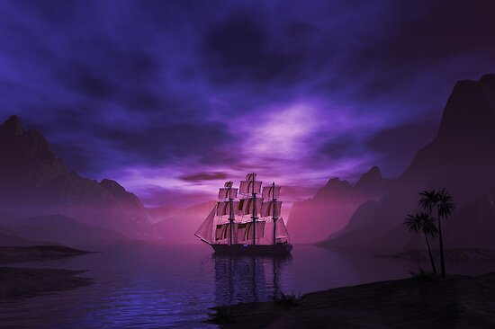Clipper Ship at Sunset by Carol and Mike Werner