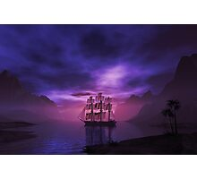 Clipper Ship at Sunset Photographic Print