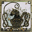 Jeweled Celtic Cat Mosaic by ingridthecrafty