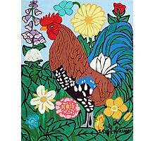 Rooster in the Garden Photographic Print