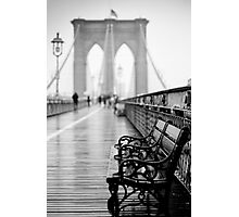 Brooklyn Bridge Bench Photographic Print