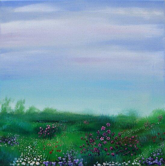 FIeld of Spring flowers by Regina Valluzzi