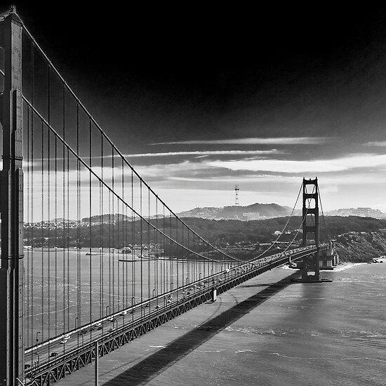 golden gate bridge black and white pictures. Golden Gate Bridge - Dark Sky