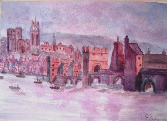 "The old Tyne Bridge Circa 1730"" Fine Art Print by GEORGE SANDERSON ..."
