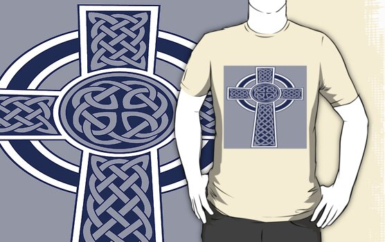 "Celtic ""High Cross"" Blue Tattoo by taiche"