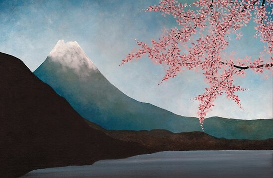 cherry blossom japanese art. Mount Fuji : Japanese Art by