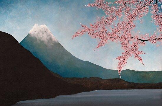 cherry blossom japanese art. Mount Fuji : Japanese Art by