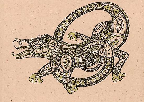 Tribal Lizard Tattoo Posters Dancing Alligator by Lynnette Shelley