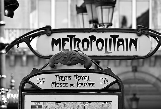 Famous Paris Metro Sign – Palais Royal & Musee du Louvre in Paris, France