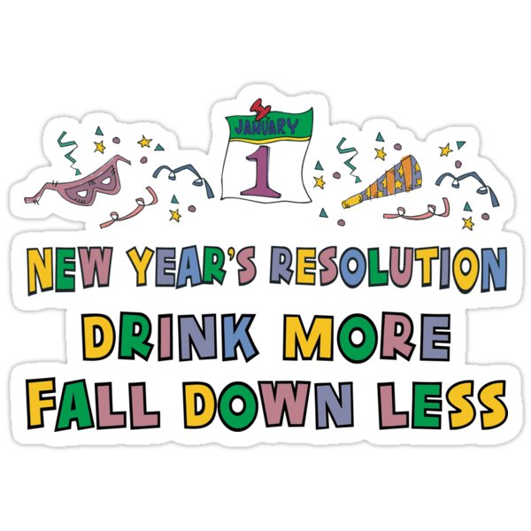 funny new year resolutions. Sticker: Funny New Year#39;s