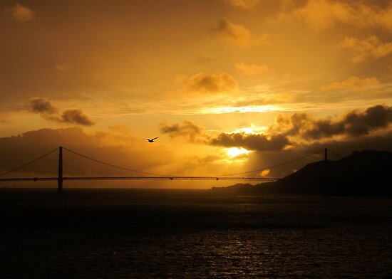 golden gate bridge sunset. Sunset over the Golden Gate