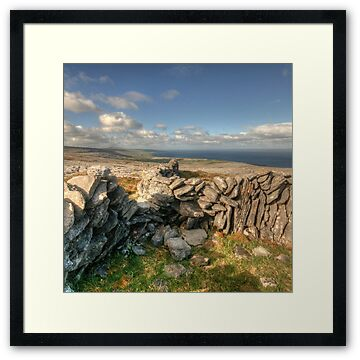 Stone walls and scenic view high in the mountains at Black Head in The Burren near Fanore village