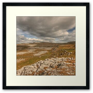 Beautiful barren limestone landscape in The Burren in county Clare at Black Head between Ballyvaughan and Fanore