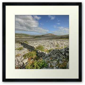 Early morning view of Knockanes mountain in The Burren National Park from Mullaghmore mountain