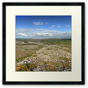 Early morning view from Mullaghmore mountain in The Burren National Park in county Clare