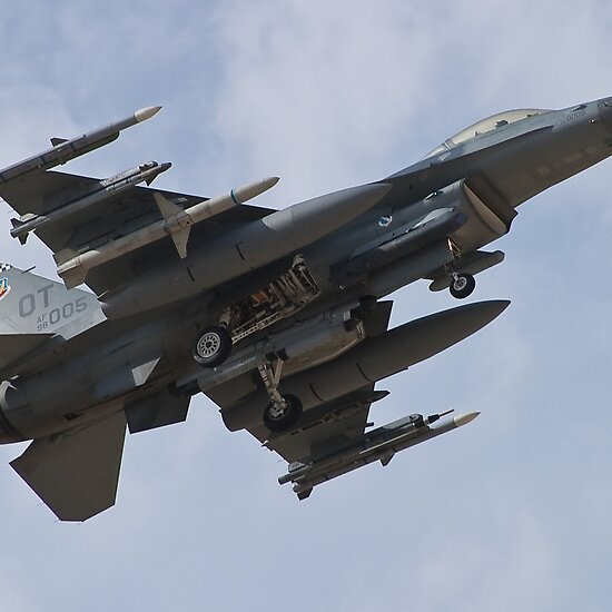Fully loaded F-16 Fighting Falcon returning to Nellis Air Force base during Red Flag 10-3