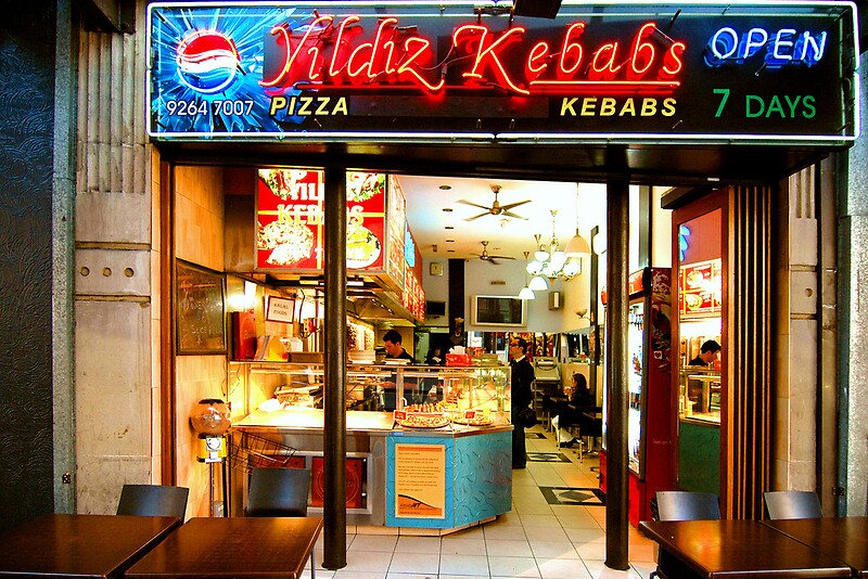 "Buy ""Kebab Diner Sydney Australia"" Laminated Print by Raoul Isidro ..."