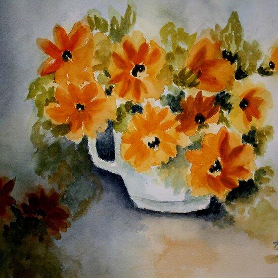 watercolor painting flowers. Happy Flowers- Watercolor