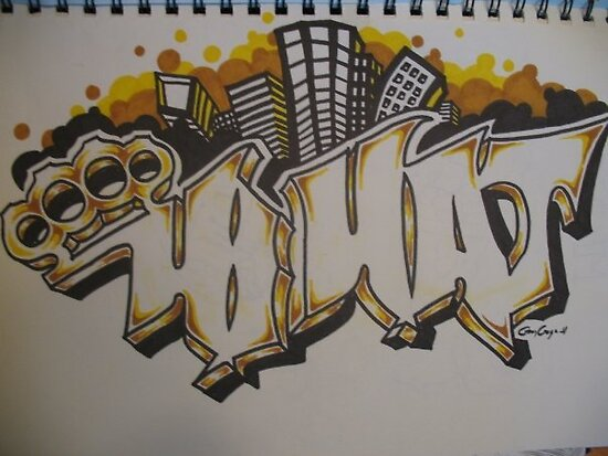 Brass Knuckle Graffiti. Tattoo Design. 2010